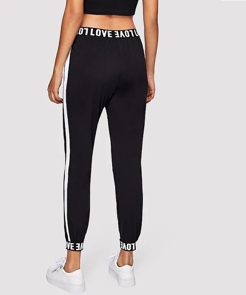 Picture of Letter Print Striped Tape Side Sweatpants