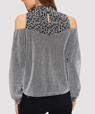 Picture of Cold Shoulder Leopard Glitter Top