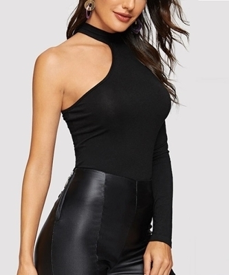 Picture of Solid One Shoulder Halter Neck Fitted Top