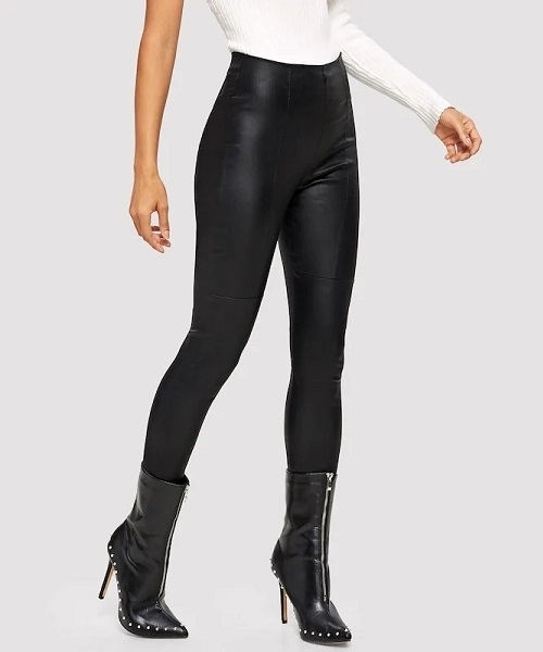 Picture of High Waist Side Zip PU Skinny Pants