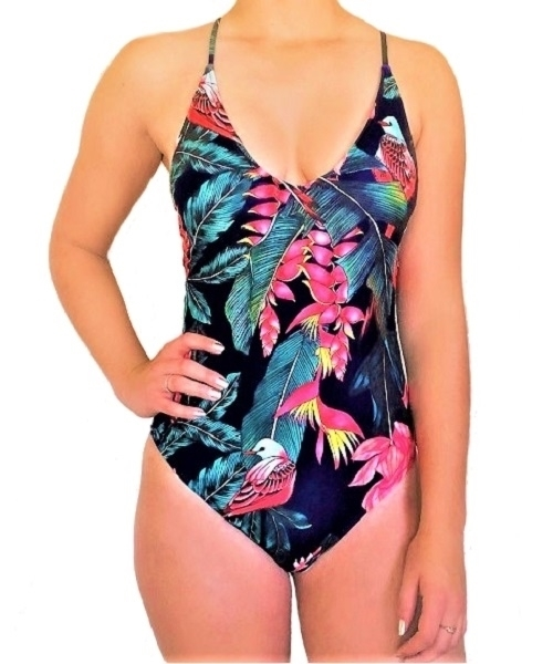 Picture of Crisscross Tropical Print Swimsuit