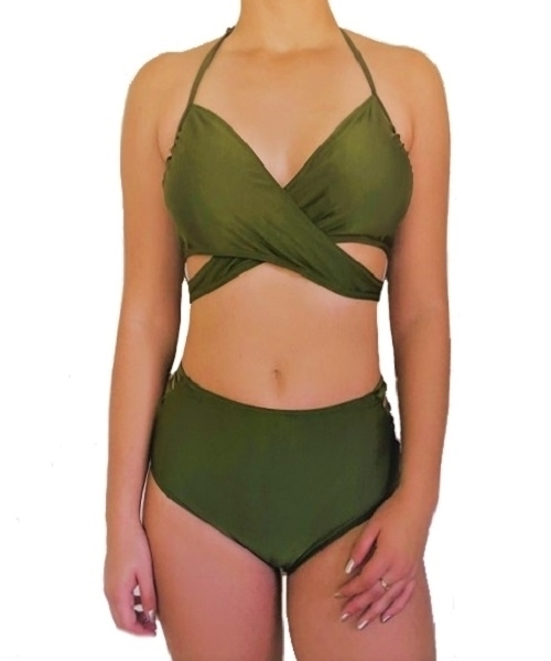 Picture of Cross Wrap Strappy High Waist Bikini Set