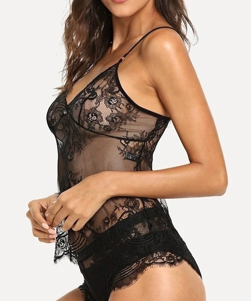 Picture of Lace And Mesh Babydoll With Thong
