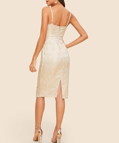 Picture of Floral Jacquard Cami Cocktail Dress
