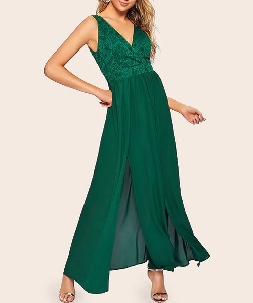 Picture of Floral Lace Applique M-slit Front Evening Dress