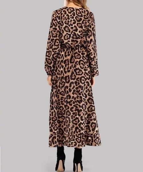 Picture of Leopard Print Asymmetrical Surplice Ruffle Hem Long Dress