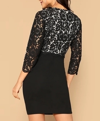 Picture of Floral Lace Bodice Bodycon Cocktail Dress