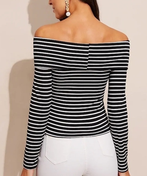 Picture of Off Shoulder Cross Wrap Striped Tee