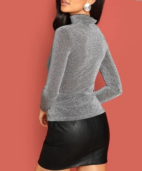 Picture of Mock-neck Form Fitting Glitter Tee