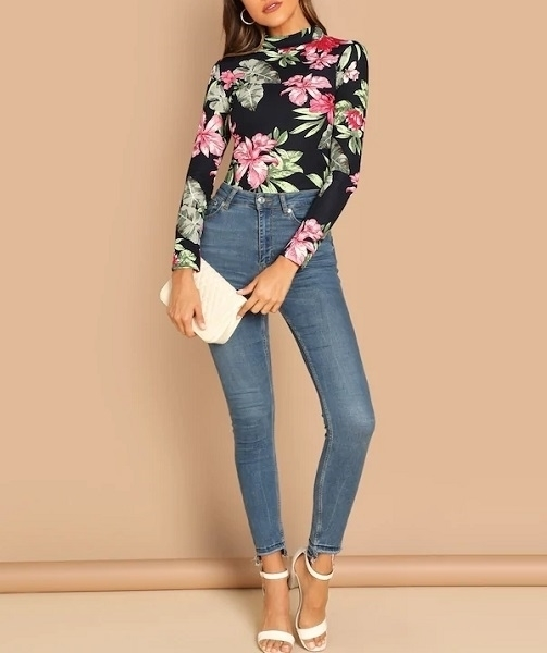 Picture of Stand Collar Floral Print Top