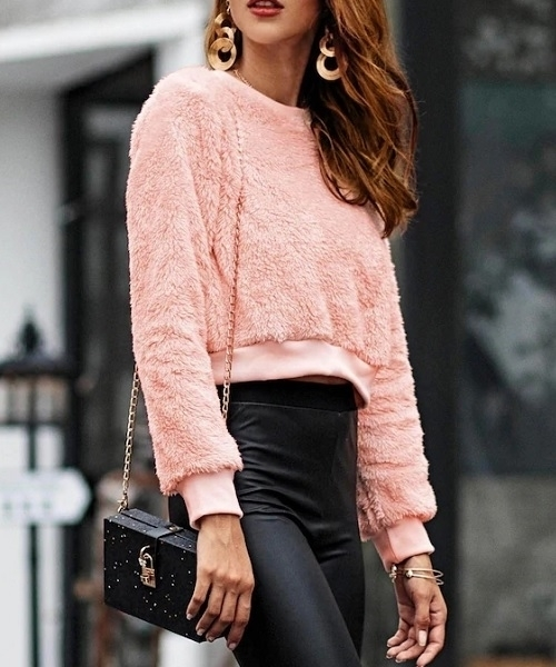 Picture of Bright Soft Touch fuzzy Solid Crop Sweatshirt