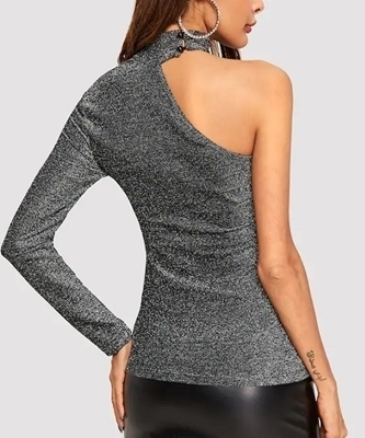 Picture of One Shoulder Form Fitting Glitter Tee