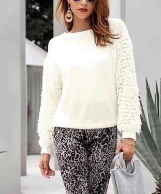 Picture of Solid Fringe Sleeve Jumper