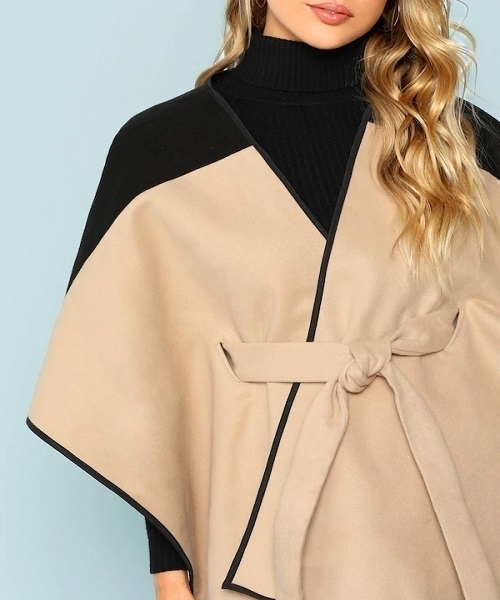 Picture of Two Tone Belted Poncho Coat