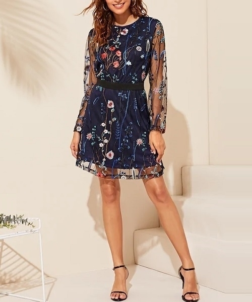 Picture of Floral Embroidery Mesh Overlay Occasion Dress