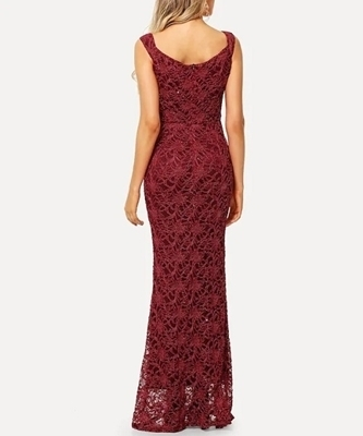 Picture of Lace Overlay Longline Formal Maxi Occasion Dress