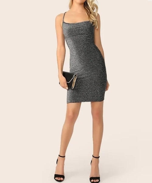 Picture of Back Tie Glitter Bodycon Cami Cocktail Party Dress