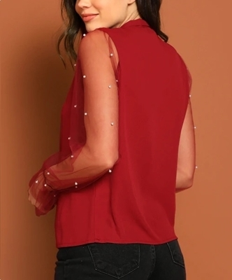 Picture of Pearl Beaded Tie Back Mesh Sleeve Top
