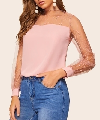 Picture of Sheer Mesh Yoke Sweetheart Neck Top