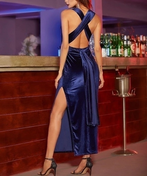 Picture of High Slit Velvet Convertible Evening Dress