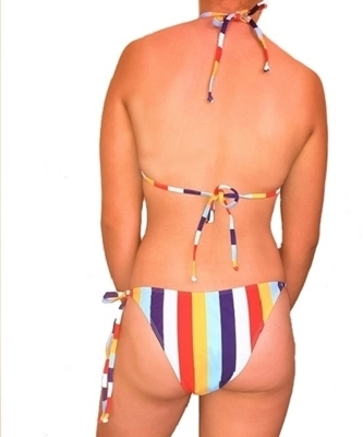 Picture of Random Striped Tie Up Bikini Set