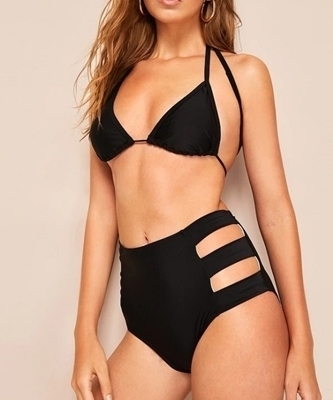 Picture of Black Ladder Cutout High Waist Bikini Set