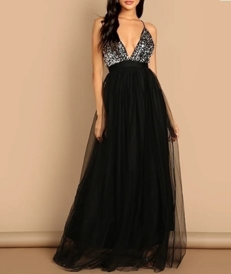 Picture of Crisscross Back Sequin Bodice Mesh Halter Evening Dress