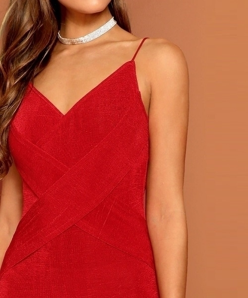 Picture of Crisscross Form Fitting Velvet Knit Cami Cocktail Party Dress