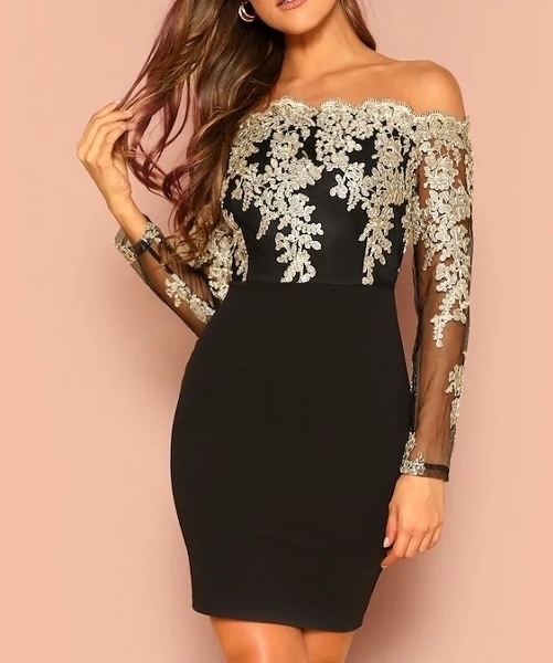 Picture of Embroidered Mesh Bodice Off the Shoulder Cocktail Dress