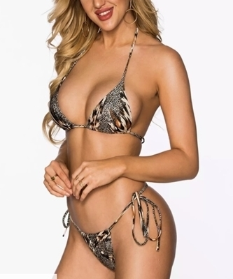Picture of Animal inspired Self Tie Cheeky Bikini Set