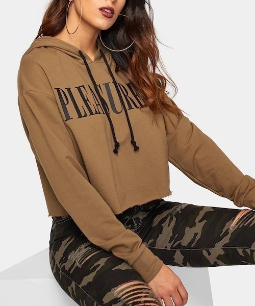Picture of Box Letter Print Drop Shoulder Crop Hoodie