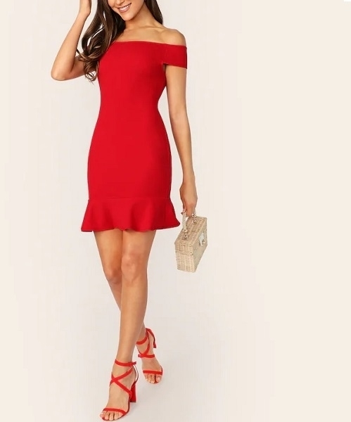 Picture of Off Shoulder Ruffle Hem Fitted Cocktail Dress