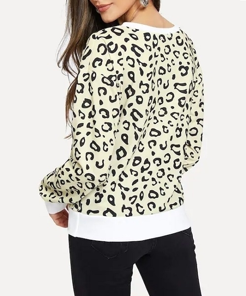 Picture of Leopard Print Contrast Trim Pullover