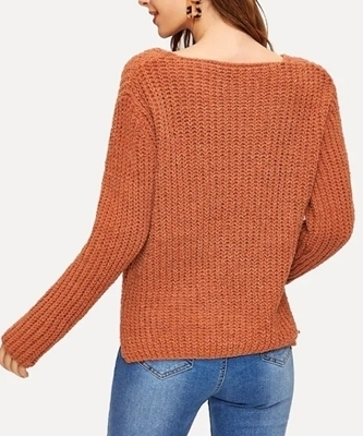 Picture of Orange V-neck Stepped Hem Sweater