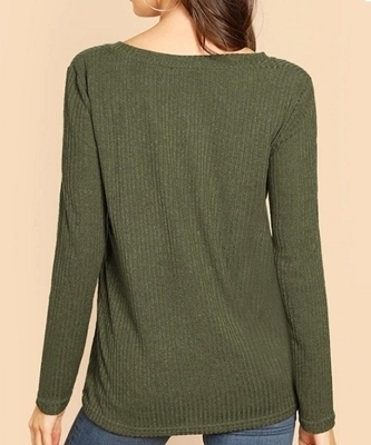 Picture of Light Ribbed V Neck Knit Tee