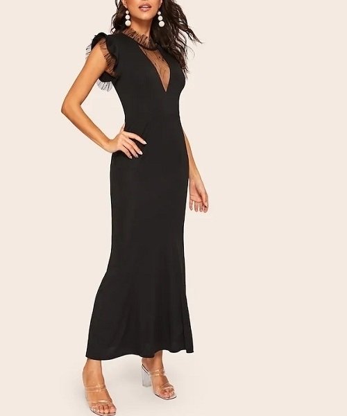 Picture of Contrast Mesh Cap Sleeve Occasion Dress