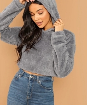 Picture of Drop Shoulder Crop Teddy Hoodie