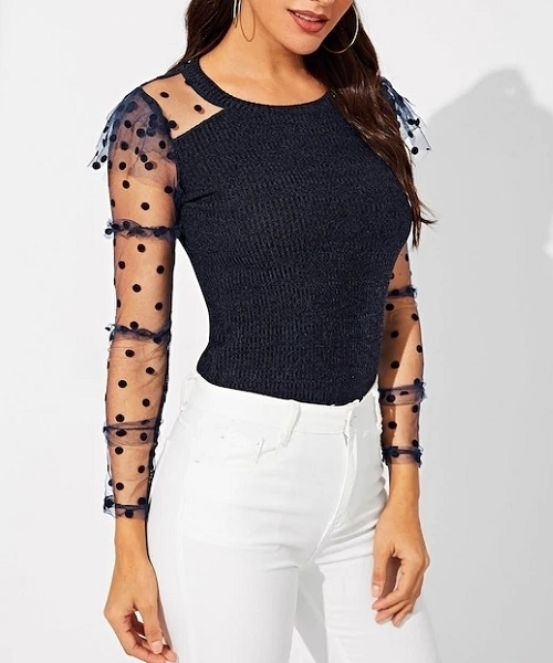Picture of Contrast Frilled Dot Mesh Sleeve Ribbed Knit Tee