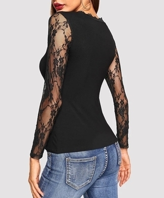 Picture of Contrast Lace Sleeve & Neck Trim Solid Tee