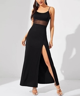Picture of Contrast Mesh Split Solid Cami Occasion Dress