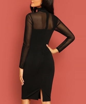 Picture of Mock Neck Lace Top Slit Cocktail Dress