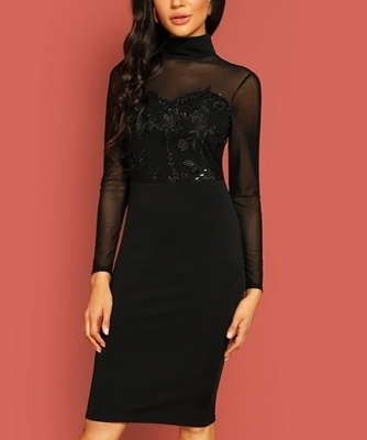 Picture of Floral Applique Mesh Bodice Cocktail Dress