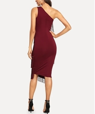 Picture of One Shoulder Tiered Fringe Cocktail Dress