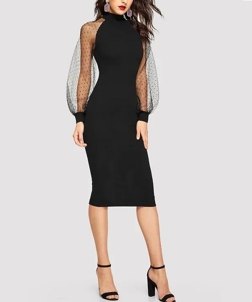 Picture of Dobby Mesh Sleeve Cocktail Dress