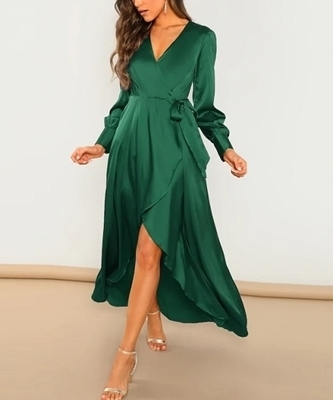 Picture of Surplice Wrap Self Tie Maxi Occasion Dress