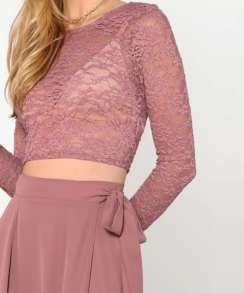 Picture of Crop Lace Top & Knot Skirt Occasion Set