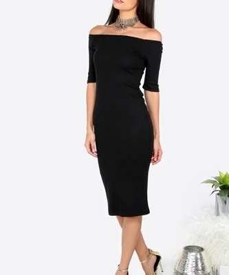 Picture of Black Off The Shoulder Sheath Mid Cocktail Dress
