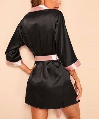 Picture of Contrast Side Belted Satin Women Robe