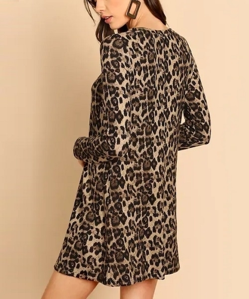 Picture of Leopard Print Swing Thick Tee Dress
