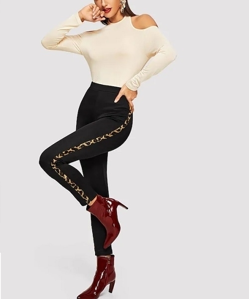 Picture of Skinny Leopard Panel Women Leggings